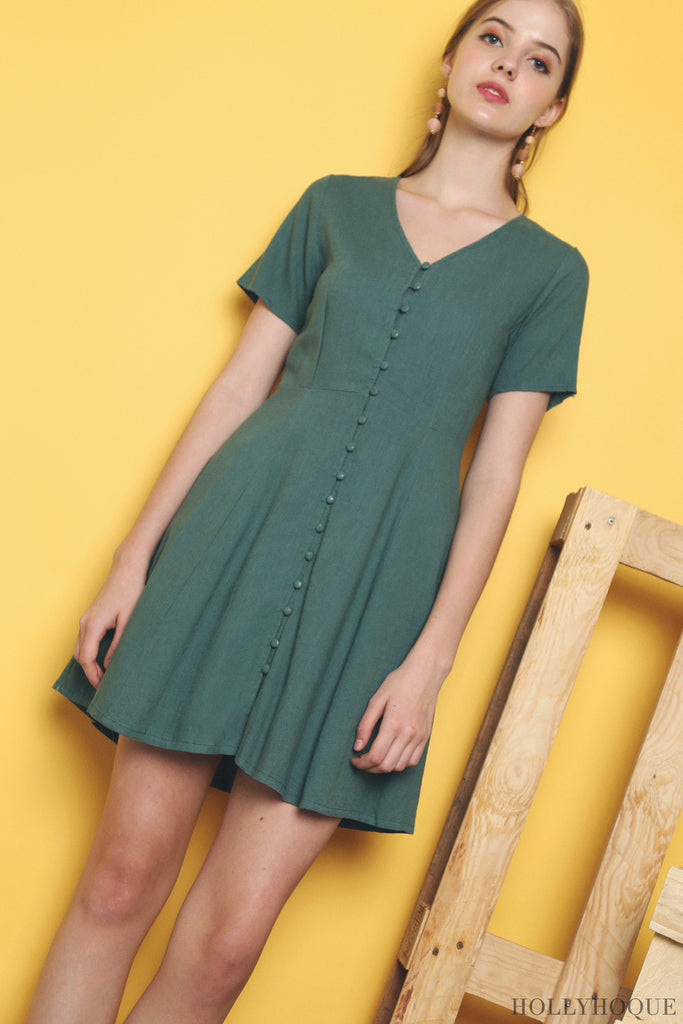 65b2725eb ... the Chloe Button Down Linen Dress (Blue, Green, Malt) will be a  well-coveted get-up. Be the next trend-setter in this timeless classic.