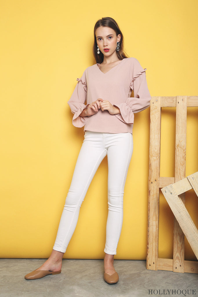 a338f73eb0ad5 The Delta Ruffles Sleeves Blouse (Dust Pink