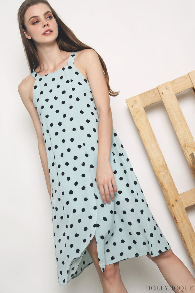 8f954f039544 A square neckline midi printed with polka dots, the Destinee Polka Dot Midi  Dress (Black, Candy Pink, Jade) makes for a timeless classic.