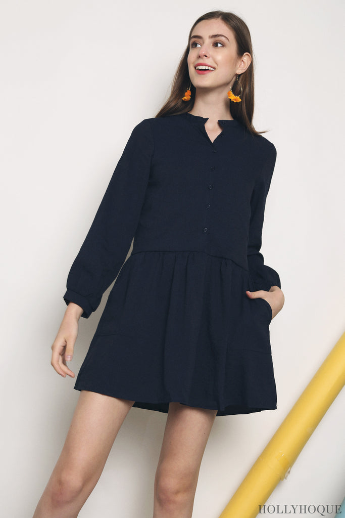 8503b9a48a58 With its mandarin collar and three quarter sleeves, let the Hegal Dropwaist  Shirtdress inspire your nine to five with effortless style.