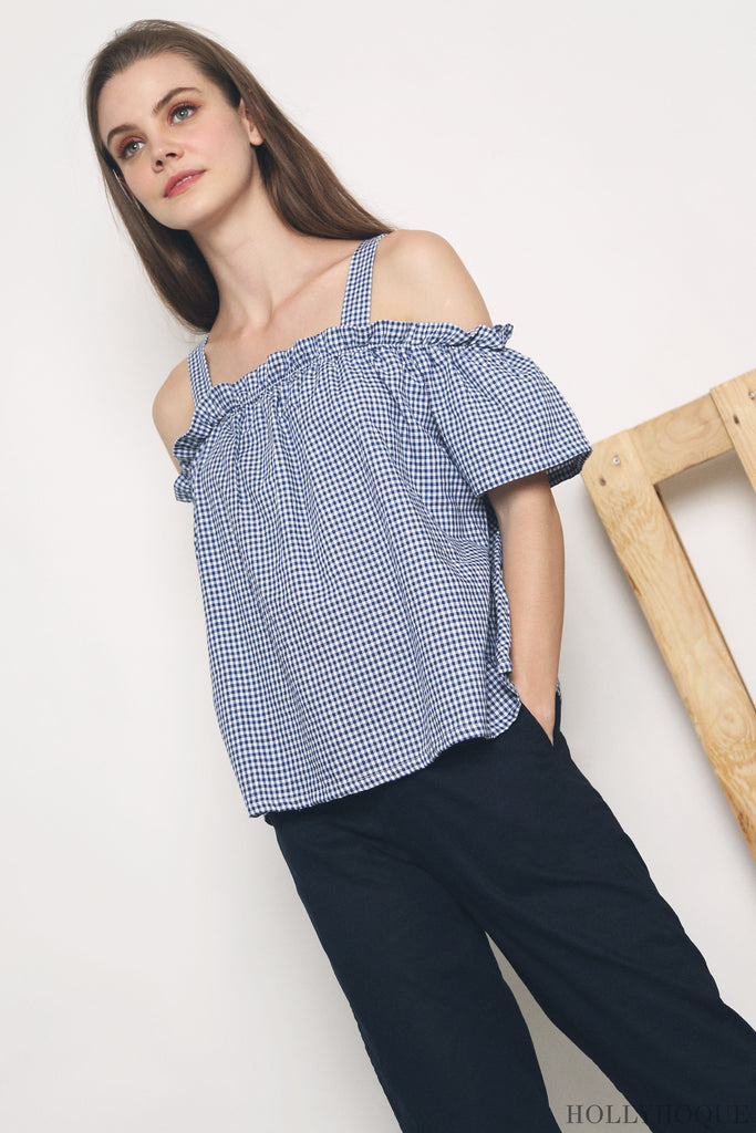 ba4a2402e09 Curated with ruffles on a cold-shoulder design, the Rossa Gingham Top  (Black, Navy, Red) speaks of casual chic. Set yourself apart in this  gingham printed ...