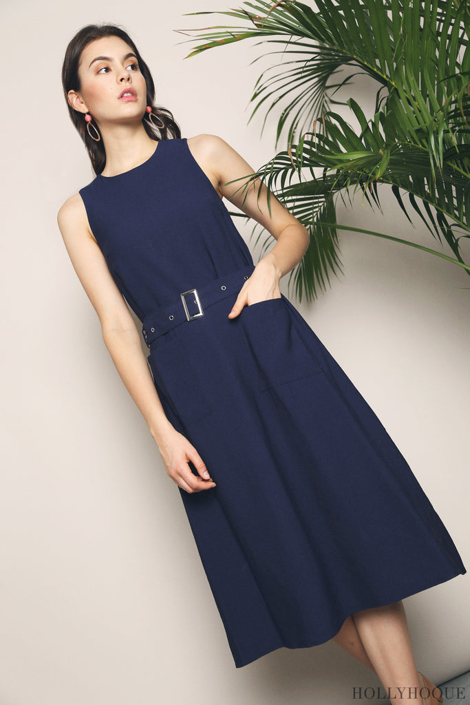 0e0b8746671c A basic midi dress with a belt cinched at waist, the Shenn Belted Pocket Midi  Dress (Black, Blush Navy) is stylishly designed to take you beyond the work  ...