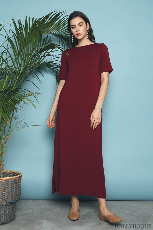 Skyler Jersey Maxi Dress Burgundy (Restock)