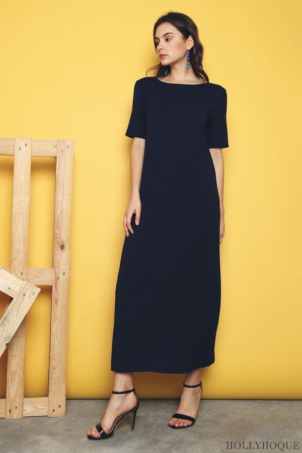 Skyler Jersey Maxi Dress Dark Navy (Restock)