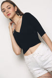 Chic Overlap Cropped Top Black (Backorder)