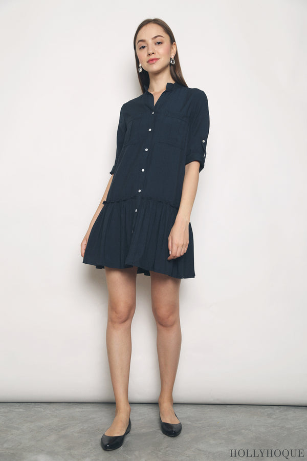 Dipty Dropwaist Shirt Dress Navy