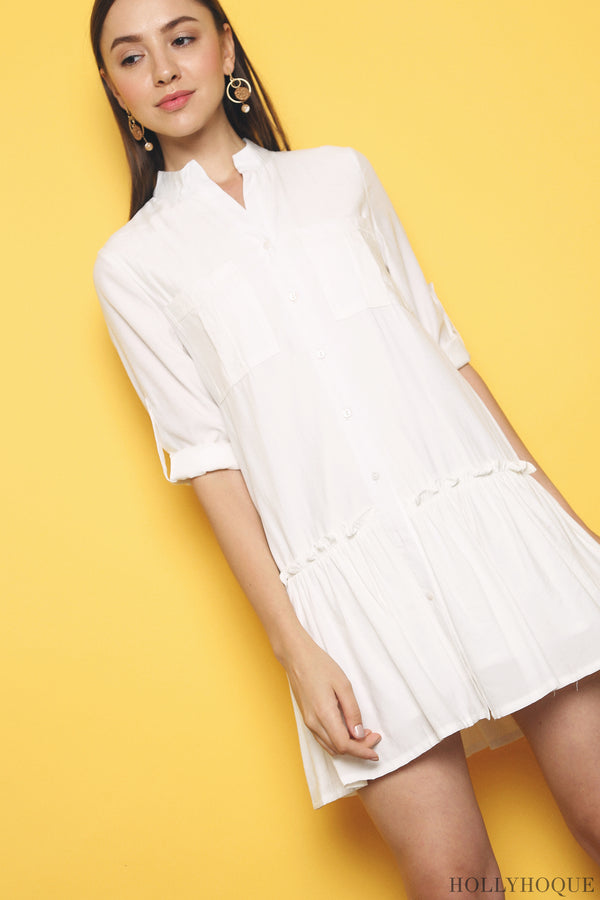 Dipty Dropwaist Shirt Dress White