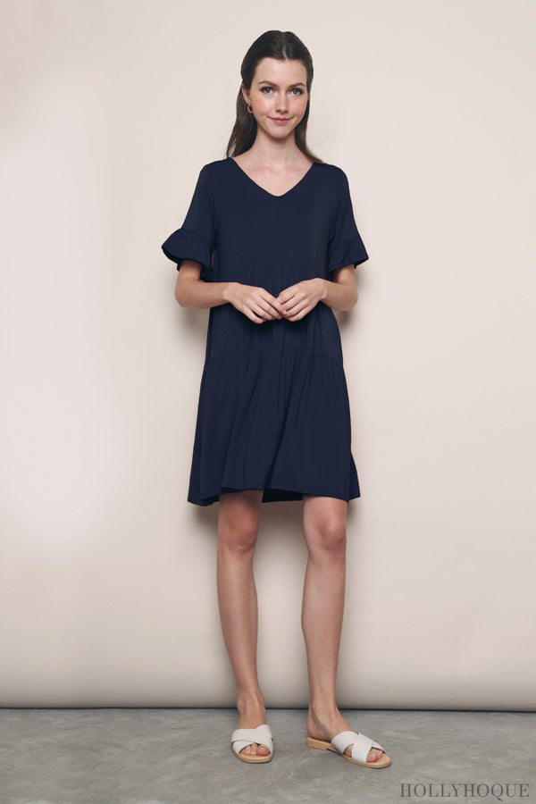 Pristine Jersey Tier Dress Navy