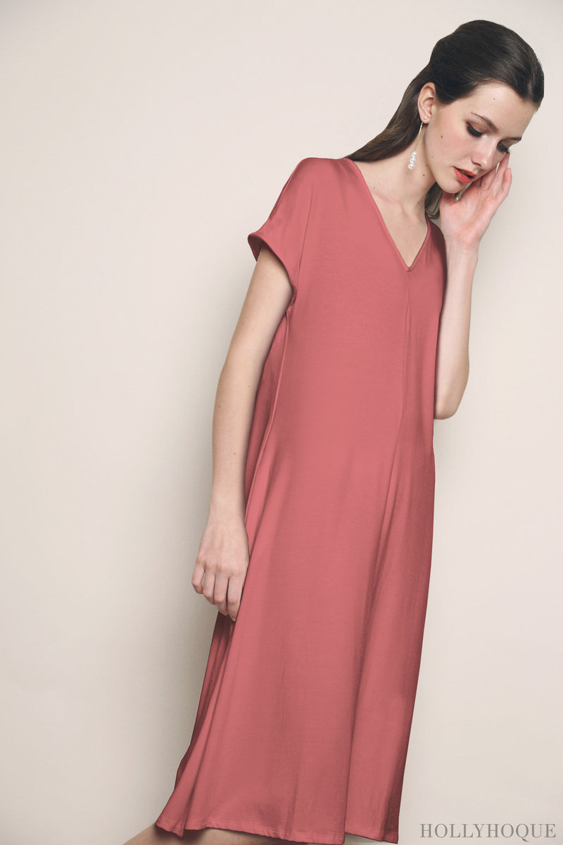 Majorie Jersey Midi Dress Tea Rose