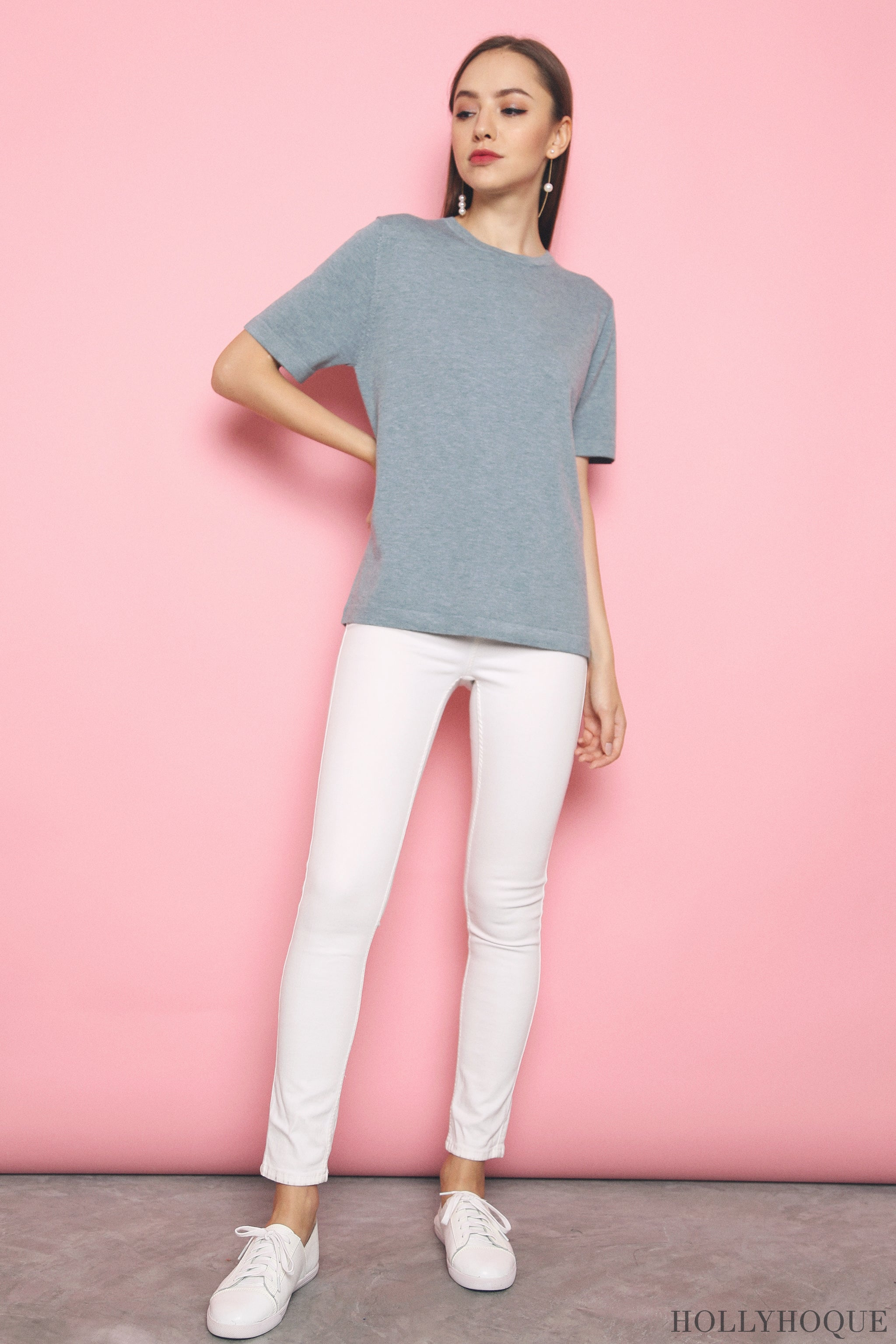 Kris Basic Knit Top Powder Blue (Restock)