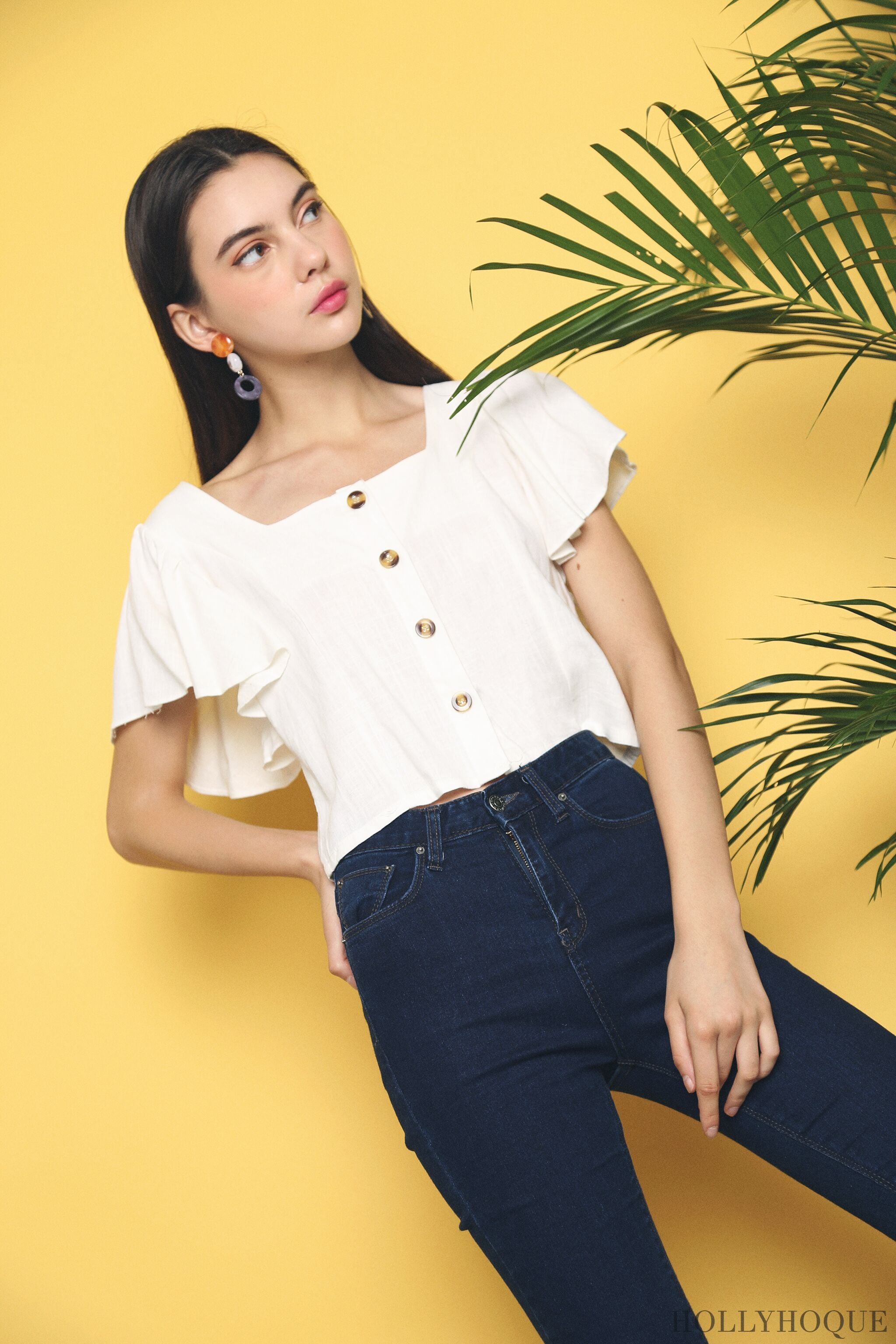 Carls Square Neck Blouse White