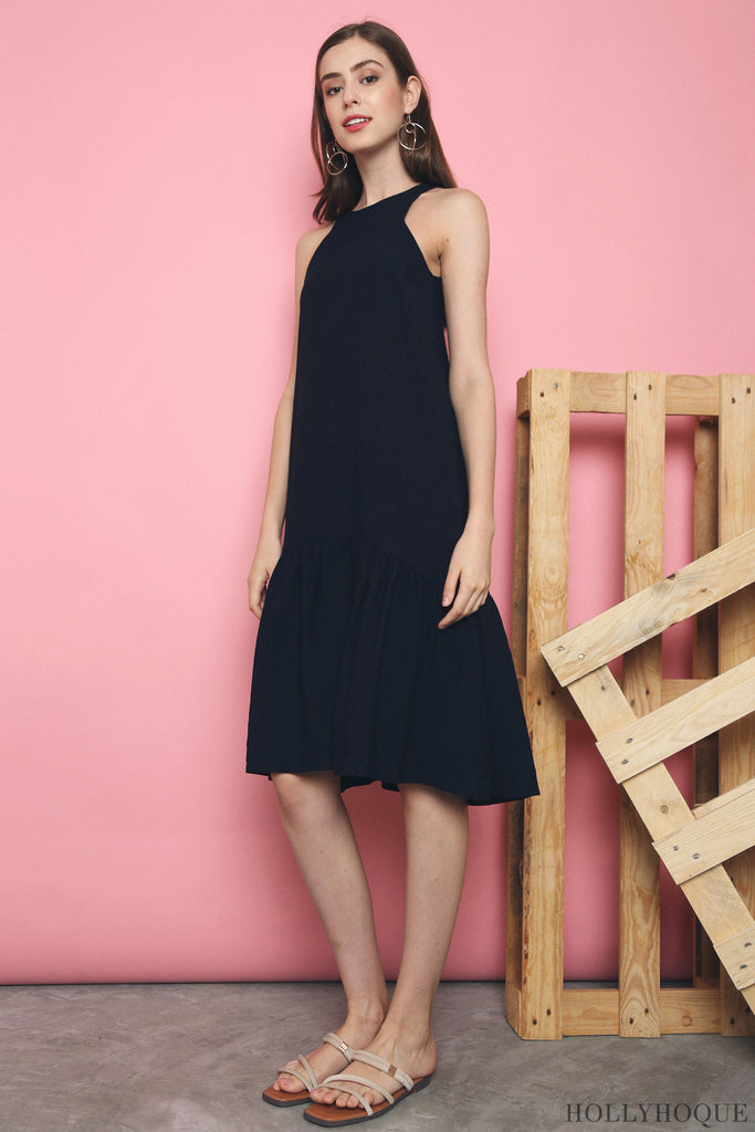 Windser Peplum Midi Dress Navy (Restock)