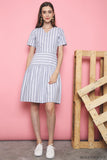 Zed Stripe Midi Dress Grey