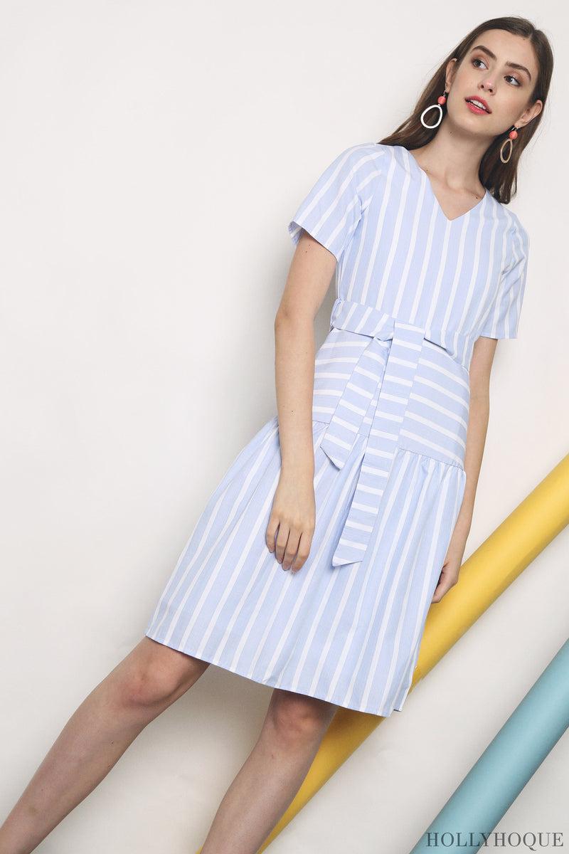 Zed Stripe Midi Dress Light Blue