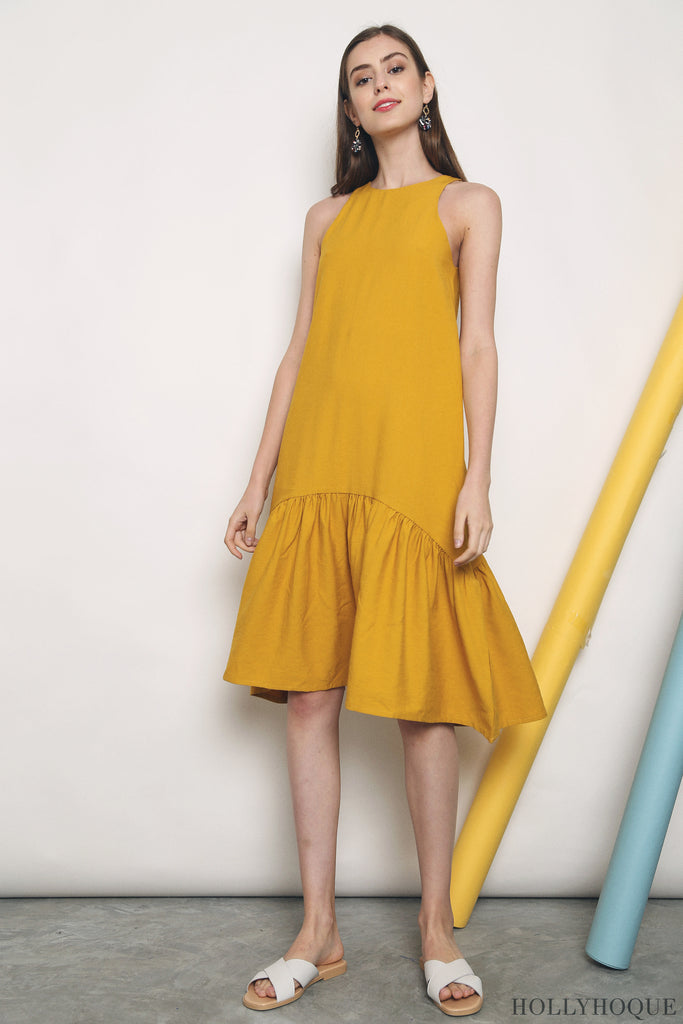 Windser Peplum Midi Dress Sunshine (Restock)