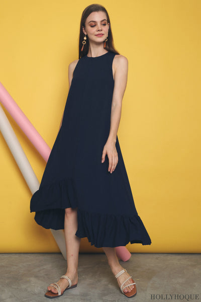 Aurora Ruffles Maxi Dress Navy