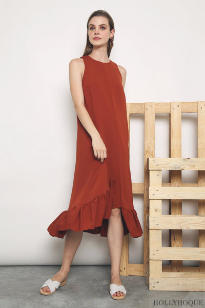 Aurora Ruffles Maxi Dress Maple