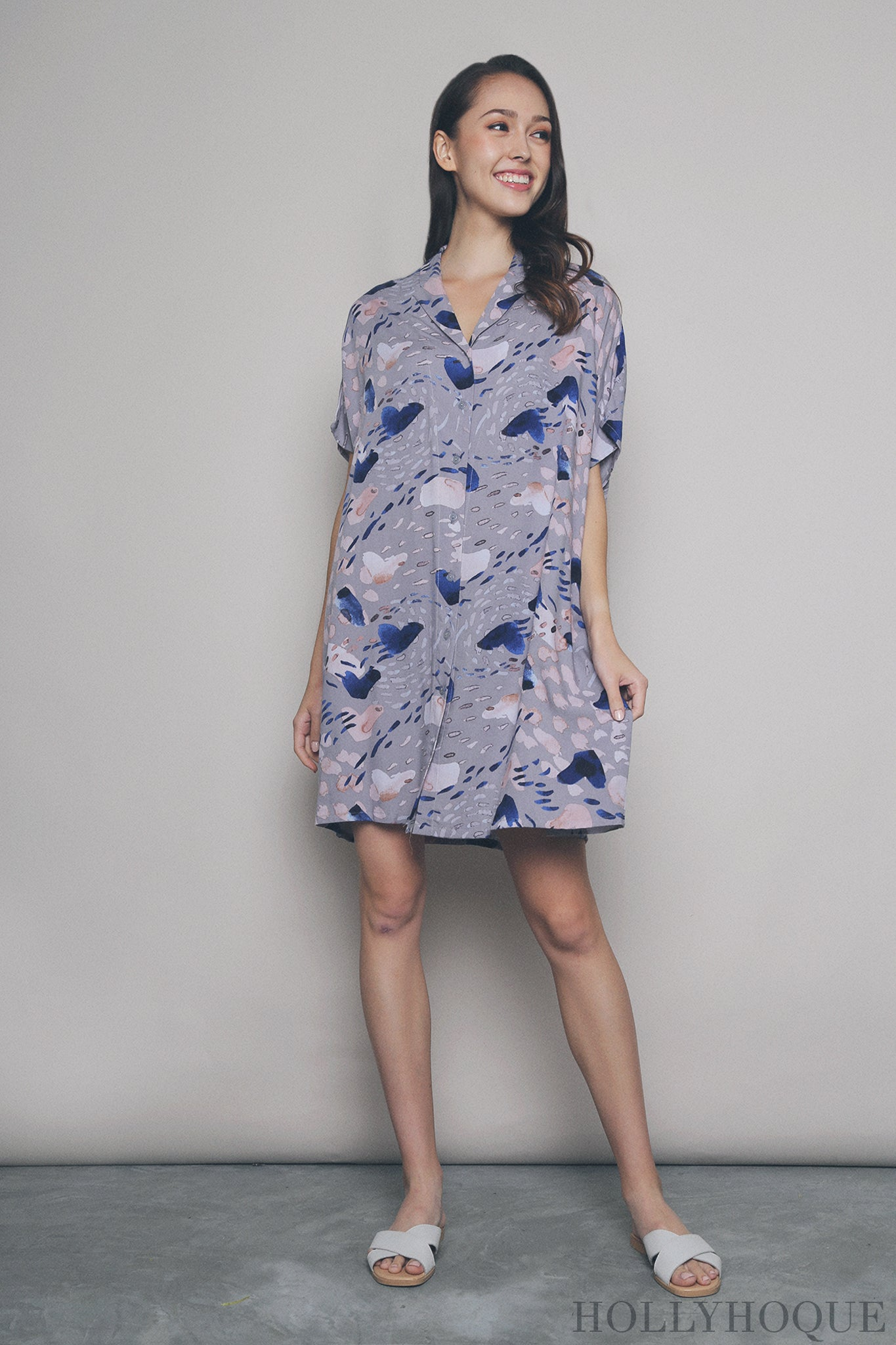 Abstract Brushstrok Sleep Dress