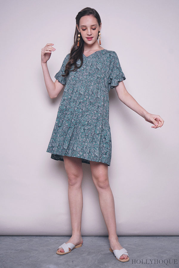 Adeline Floral Babydoll Dress Green