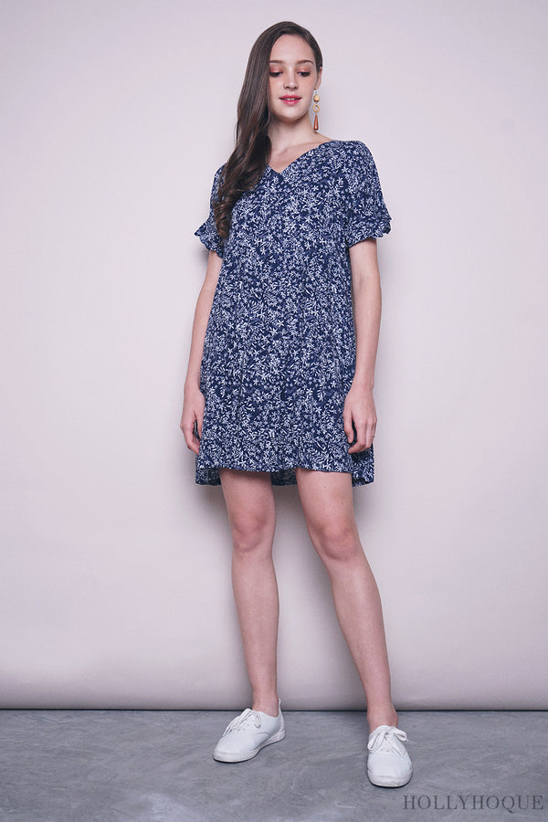 Adeline Floral Babydoll Dress Navy