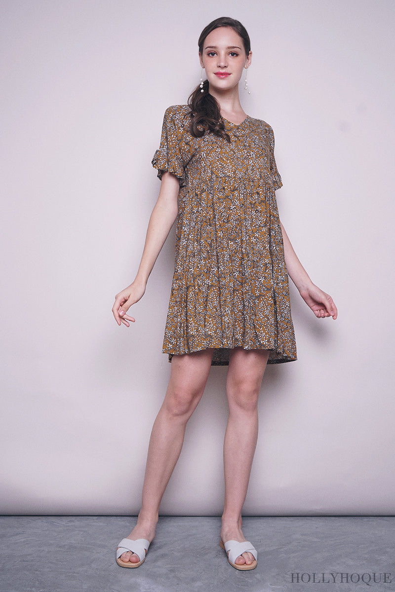 Adeline Floral Babydoll Dress Yellow