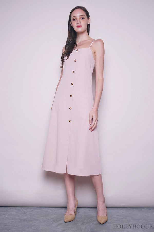 Althea Strappy Midi Dress Pink