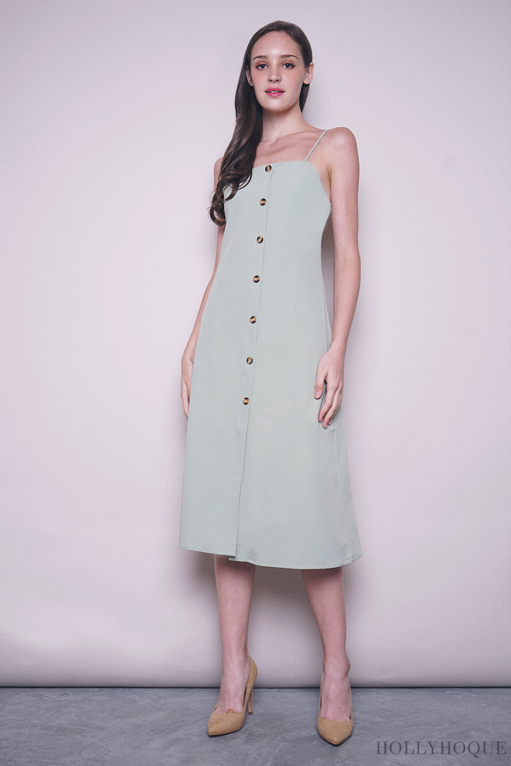 Althea Strappy Midi Dress Sage