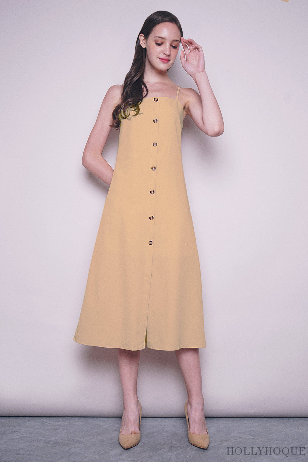 Althea Strappy Midi Dress Yellow