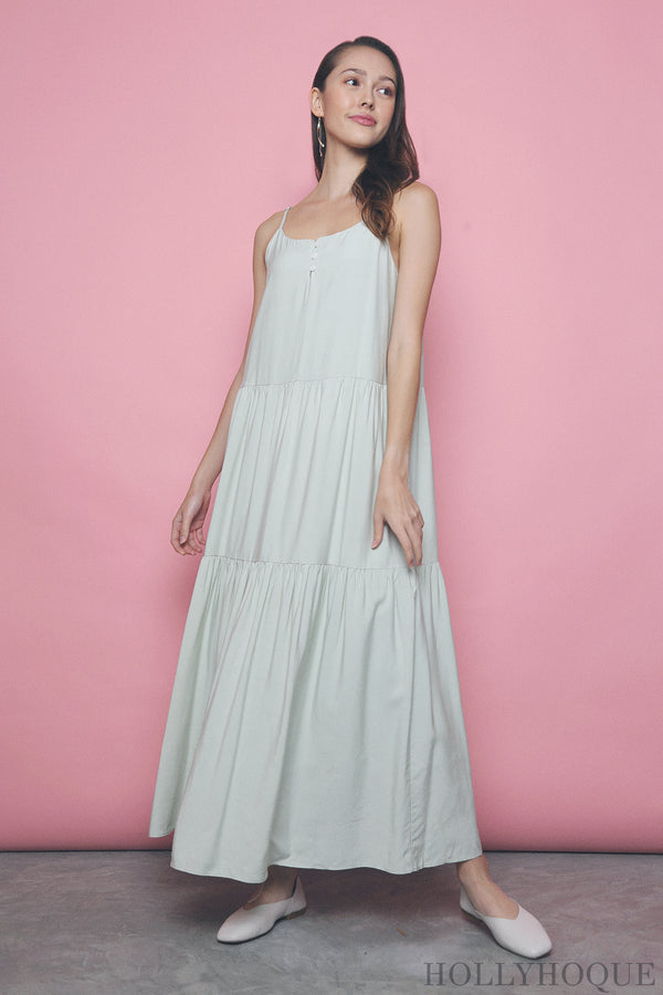 Amari Button Maxi Dress Mint
