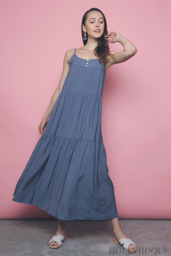 Amari Button Maxi Dress Teal
