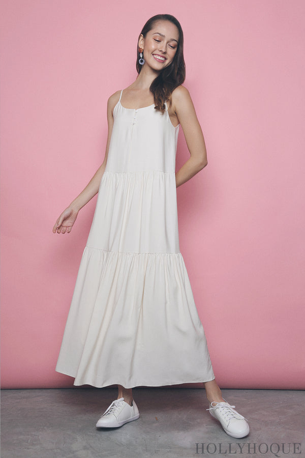 Amari Button Maxi Dress Cream