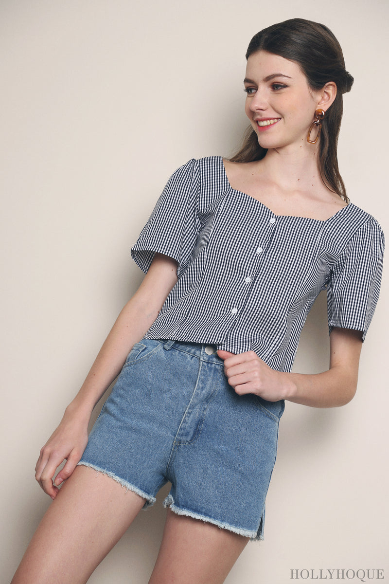 Ambrose Gingham Blouse Navy