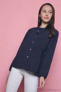 Ame Pleat Shirt Navy