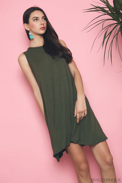 Kyer Sleeveless Basic Dress Olive (Backorder)
