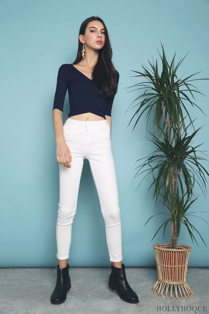 Chic Overlap Cropped Top Navy
