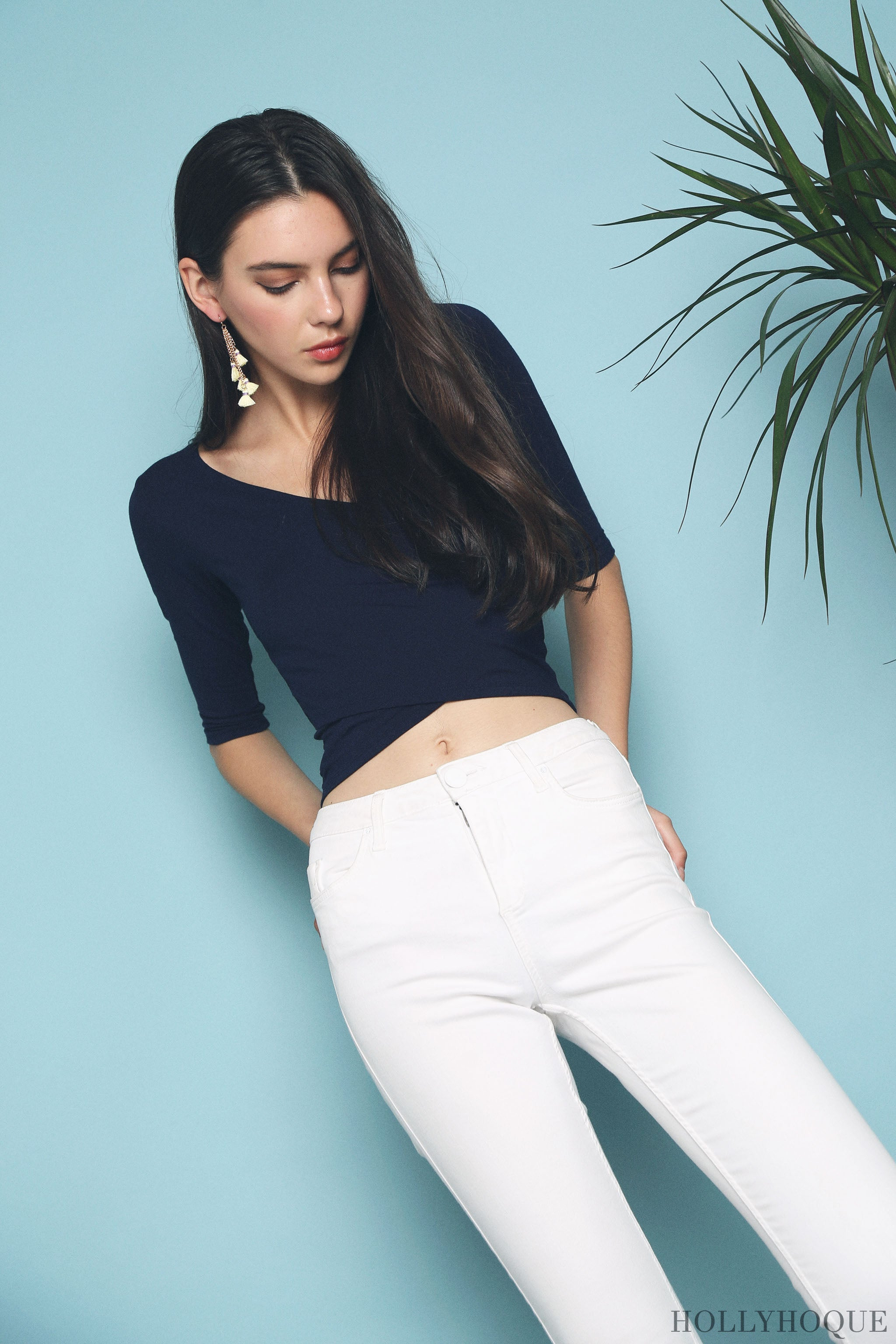 Chic Overlap Cropped Top Navy (Restock)