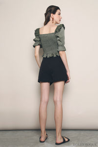 Anthea Ruffles and Smocked Top Olive