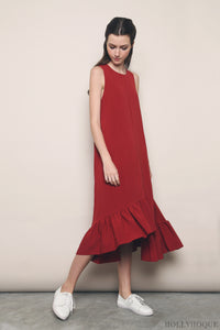Aura Ruffles Maxi Dress Red (Restock)