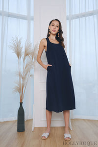 Bayley V Back Dress Navy