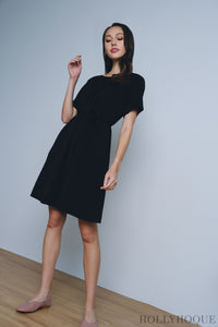 Bella Ruche Dress Black