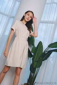 Bella Ruche Dress Cream