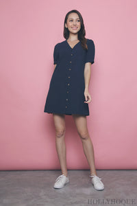 Bellini Button Down Linen Dress Navy