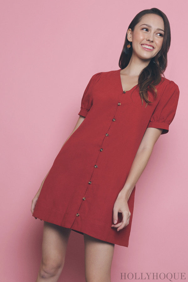 Bellini Button Down Linen Dress Red