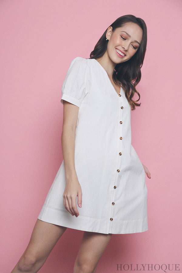 Bellini Button Down Linen Dress White