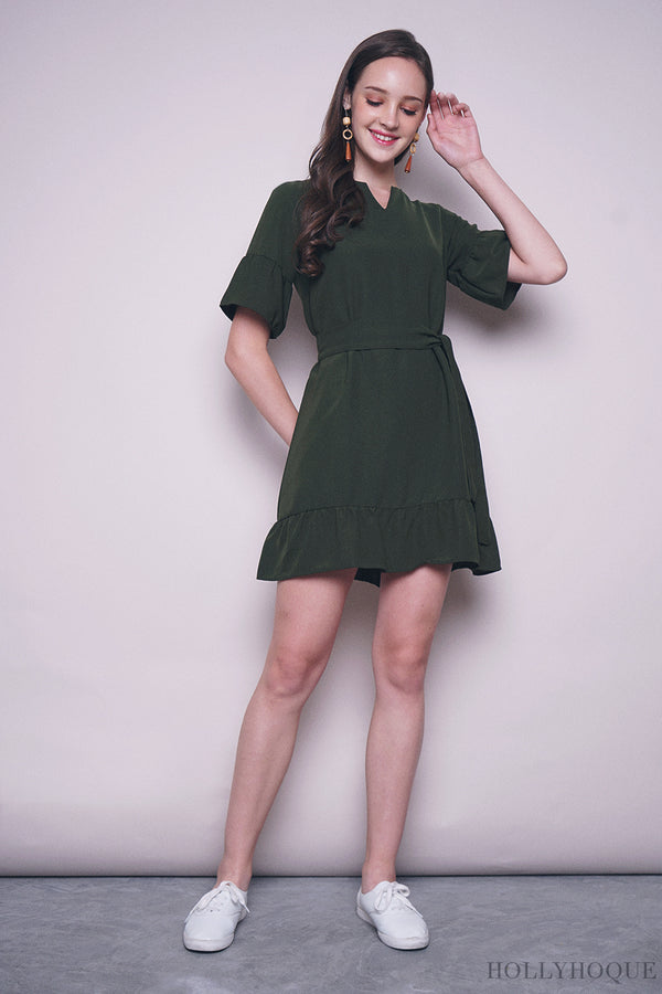 Bosch Ruffles Shift Dress Emerald
