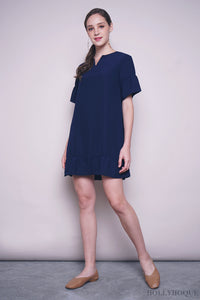 Bosch Ruffles Shift Dress Navy