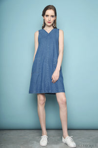Branson Pocket Denim Dress Dark Denim