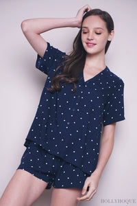 Navy Polka Breezy Two-Piece Set