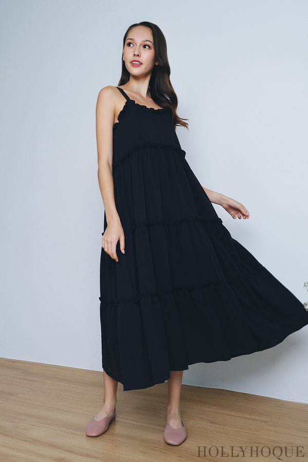 Camila Ruffles Tent Dress Black