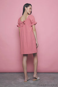 Cassis Bow Dress Salmon